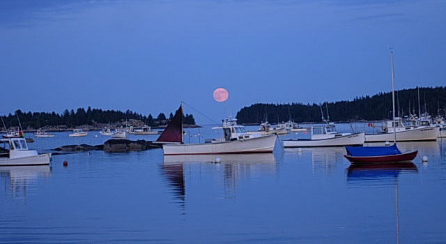Moon over lobster boats in Stonington Harbor, Stonington Maine