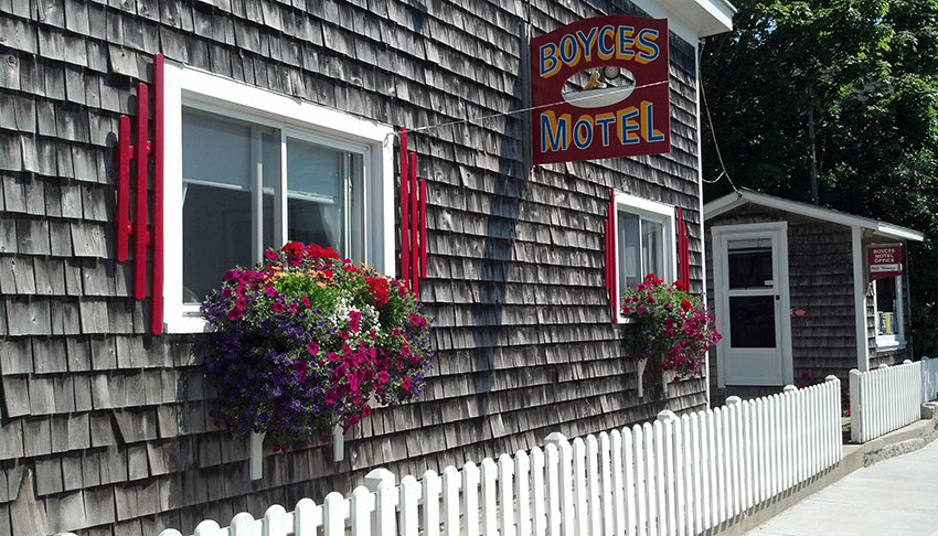 Boyces Motel in Stonington Maine, front entrance on Main Street